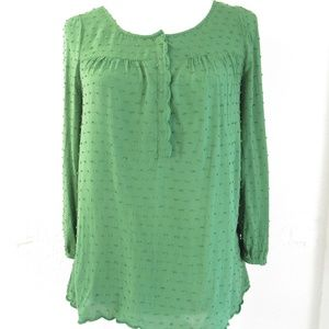 Anthropologie Maeve Swiss Dot Green Top Sz 4